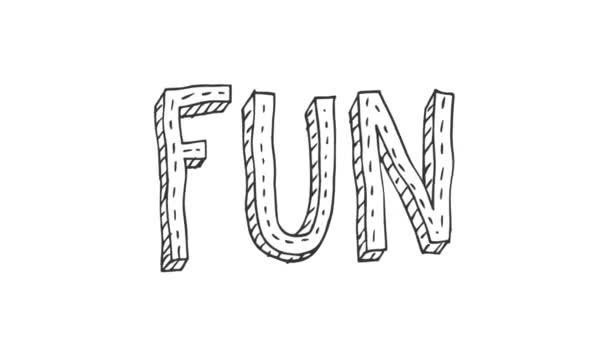 Animovaný Doodle slova / slov lásku přeřízl jsi o přátelích, strana potravin a všechny pozitivní myšlení