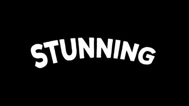animierte Schlagworte / Animation gekritzelter einprägsamer Wörter über fantastische, grandiose und beeindruckende Gefühle