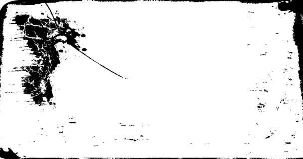 Grunge, szomorú keret texturált Loop/animáció egy évjárat-motion grafika a fekete-fehér grunge textúra keret bajba jutott