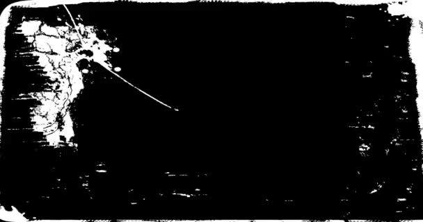 Grunge, szomorú keret texturált Loop / animáció egy évjárat-motion grafika a fekete-fehér grunge textúra keret bajba jutott