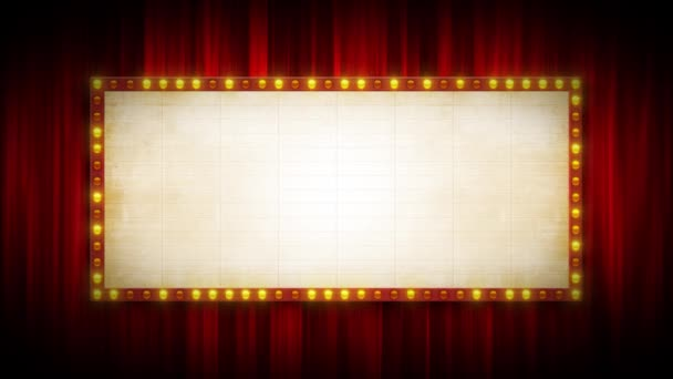 Broadway Cinema Background With Marquee Sign And Red Curtains / 4k Animation eines Kino- oder Broadway-Theaters Hintergrund mit Marquee Sign And Red Curtains