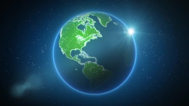 World Map Global Technology Background / 4k-Animation eines High-Tech-Hintergrunds mit Umrissen der Technologie-Weltkarte und miteinander verbundenen Punkten