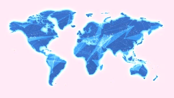 World Map Global Technology Background/ 4k animation of a hi-tech background with technology world map outlines and dots connected