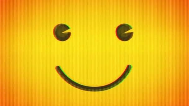 Happy Smiley Emoji Icon With Digital Glitch Noise Effects / 4k animace smajlíka pozadí s emoji oči blikání a hluk a porucha textury fx