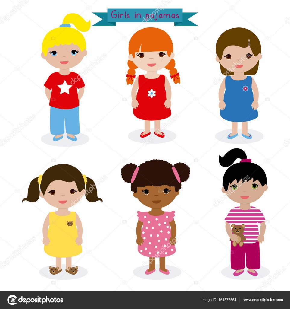2d74fc46f86e Sets niñas en pijama — Archivo Imágenes Vectoriales © tifannysanblan ...