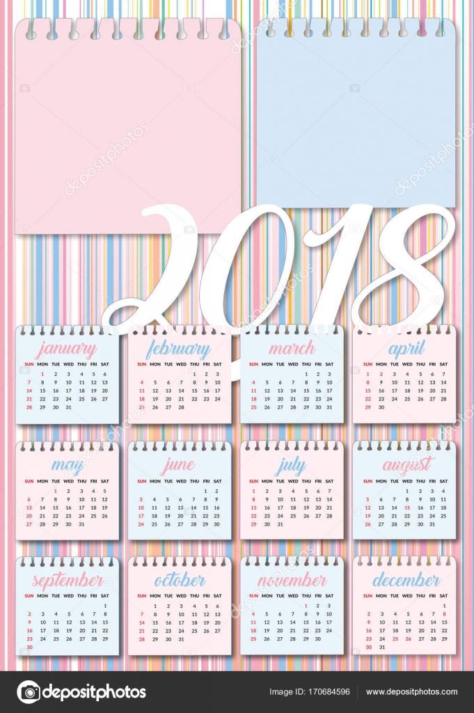 Baby Calendar 2018 Pink And Azure Stock Vector Graphicjet 170684596