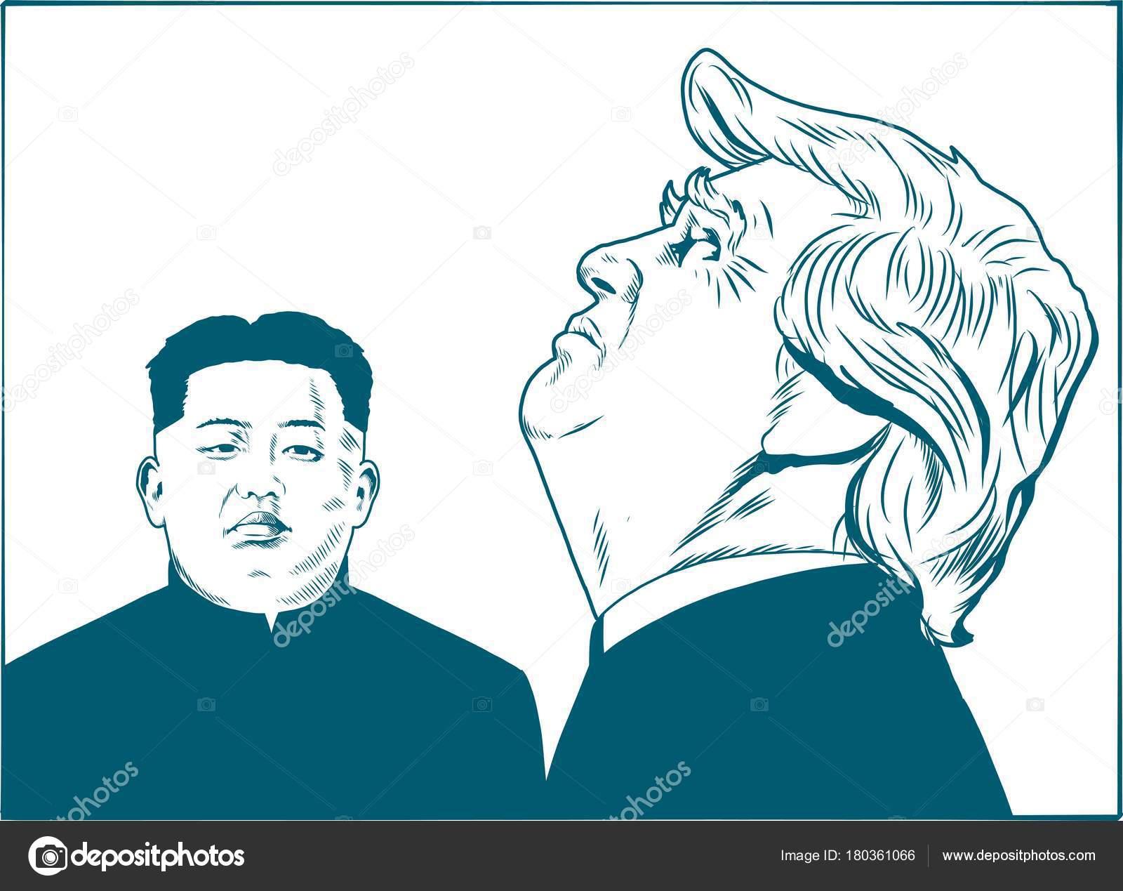 Donald Trump Kim Jong Vector Portrait Drawing Illustration January