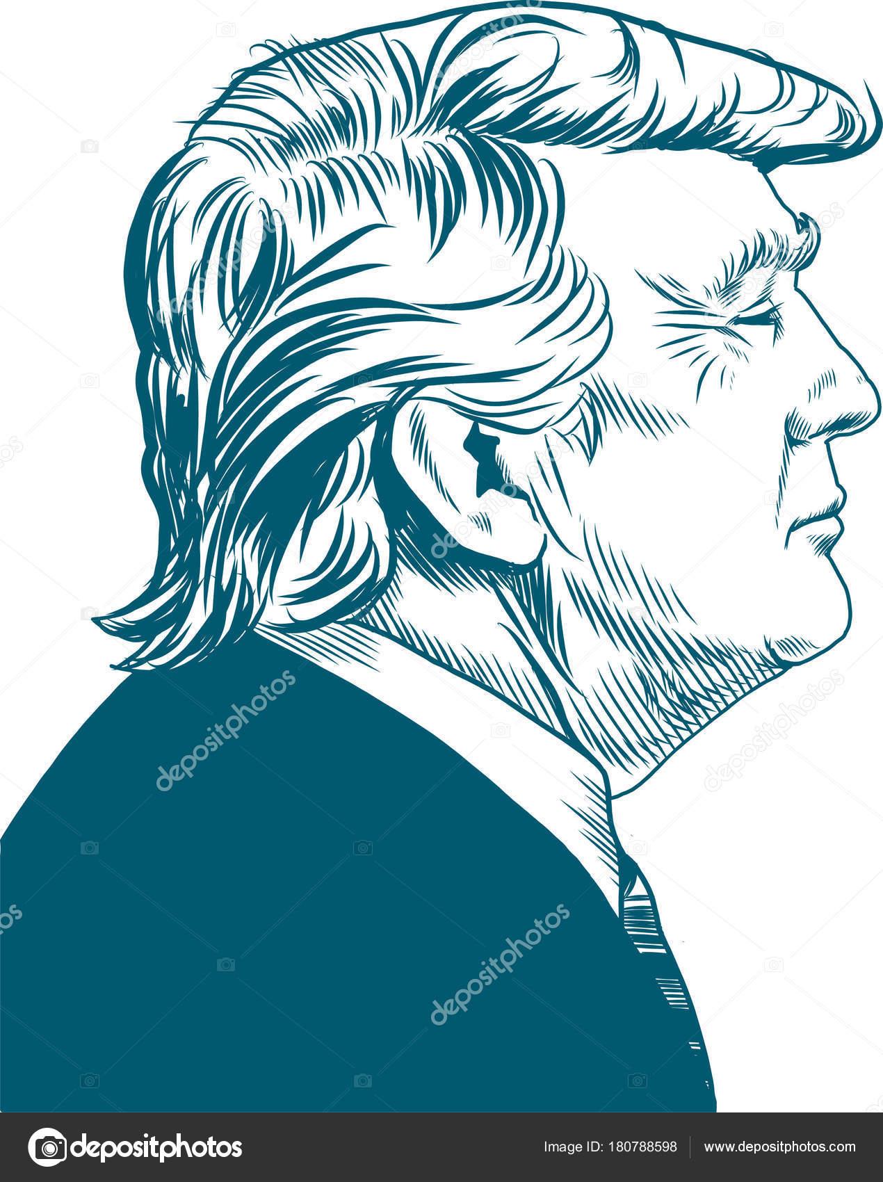 Donald Trump Vector Portrait Drawing Illustration January 2018
