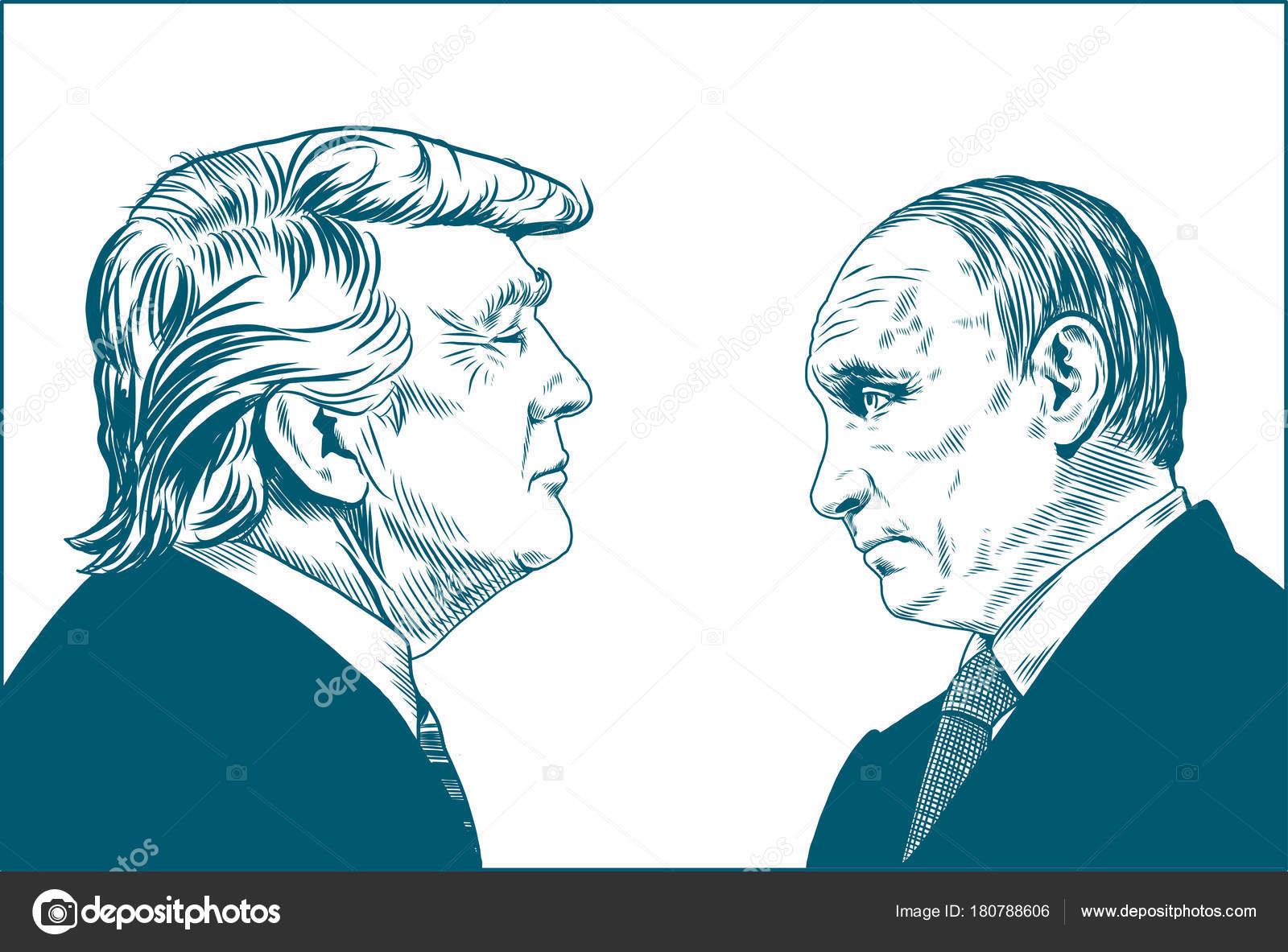 Donald Trump Vladimir Putin Vector Portrait Drawing Illustration