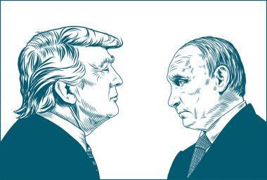 Donald Trump and Vladimir Putin. Vector Portrait Drawing Illustration. January 12, 2018