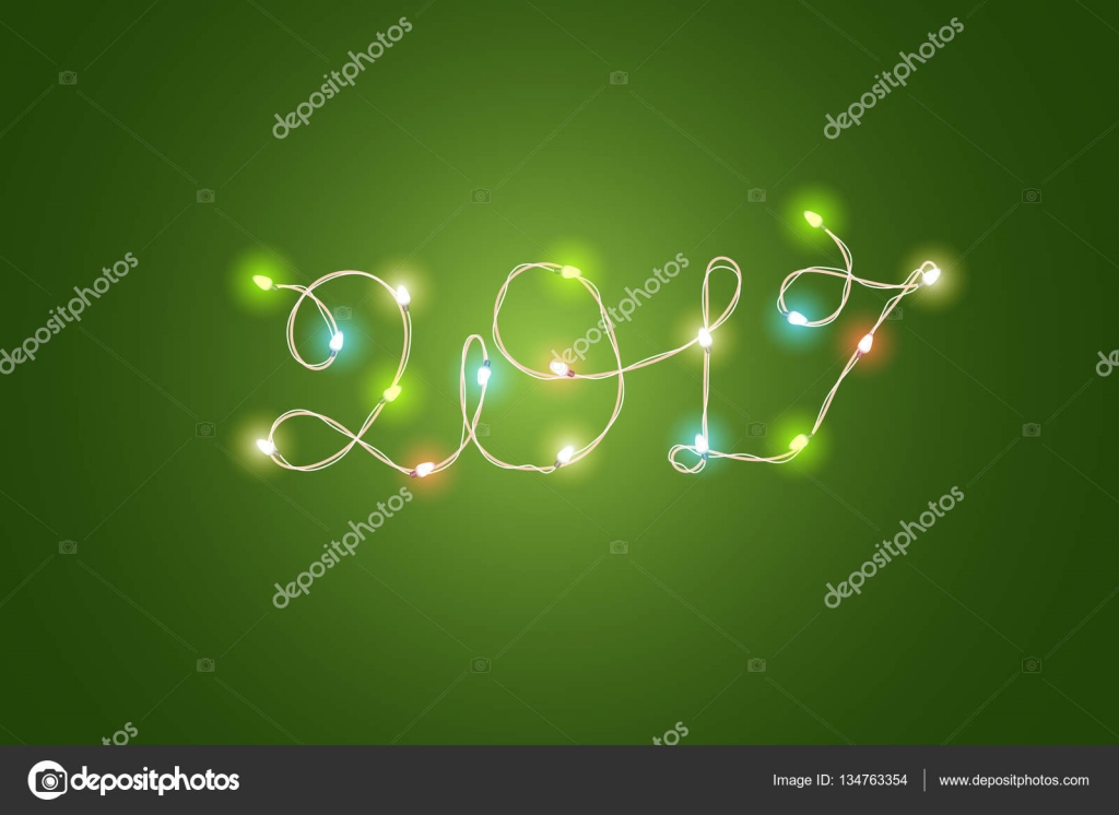 christmas color garland lettering happy new 2017 vector new ye stock vector