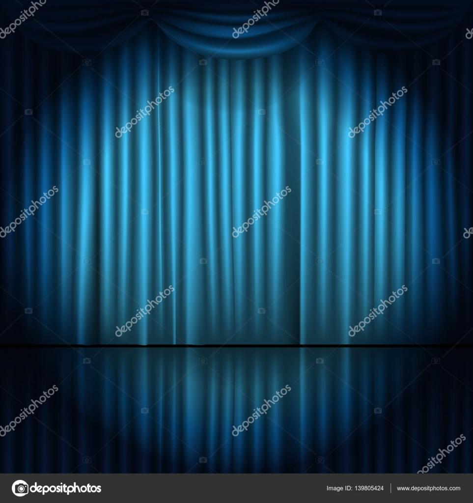 Rideaux de scène avec spot de lumière vector illustration — Image ...