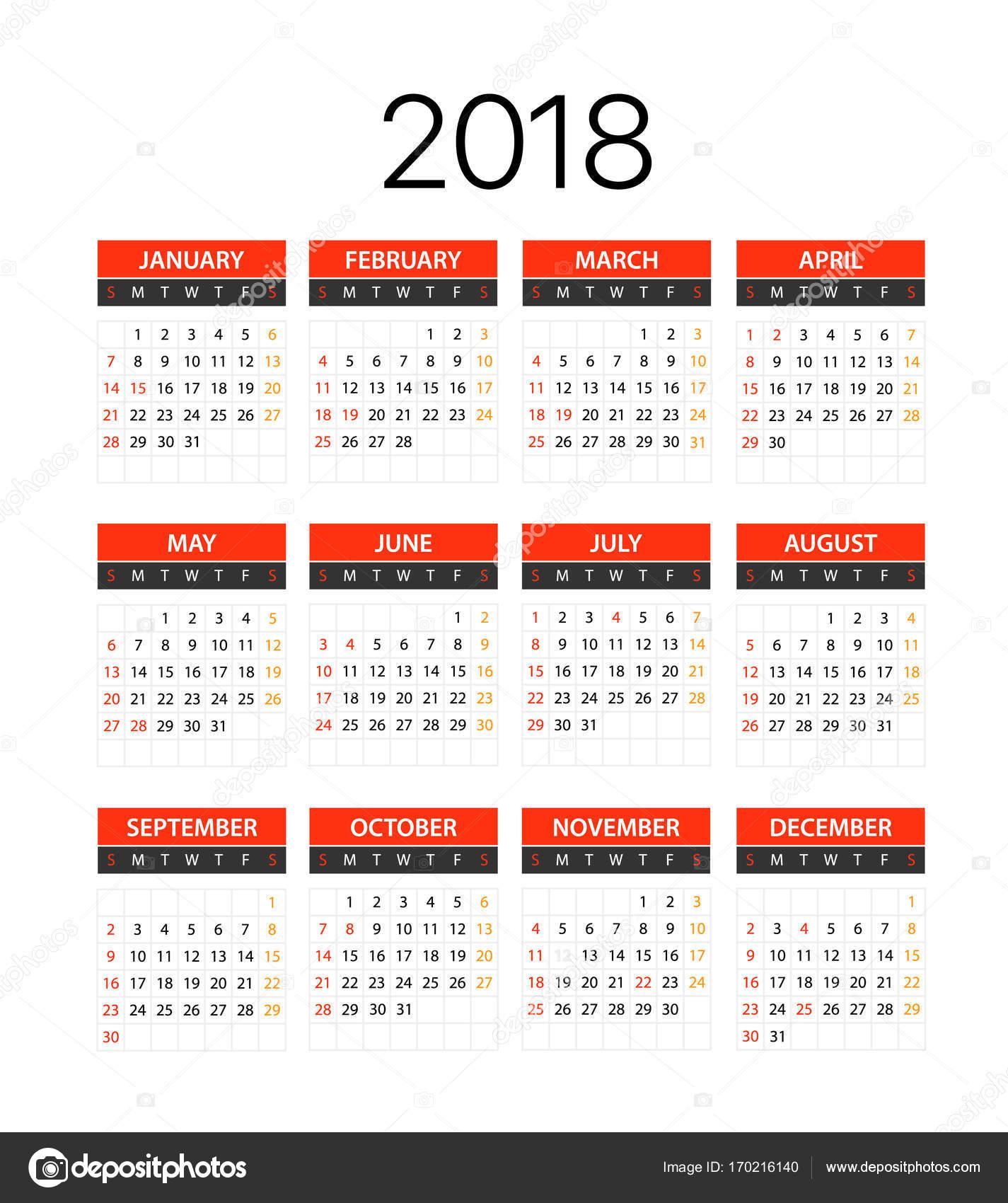 2018 Jahr Kalendervorlage. Flache Design-Vorlage — Stockvektor ...