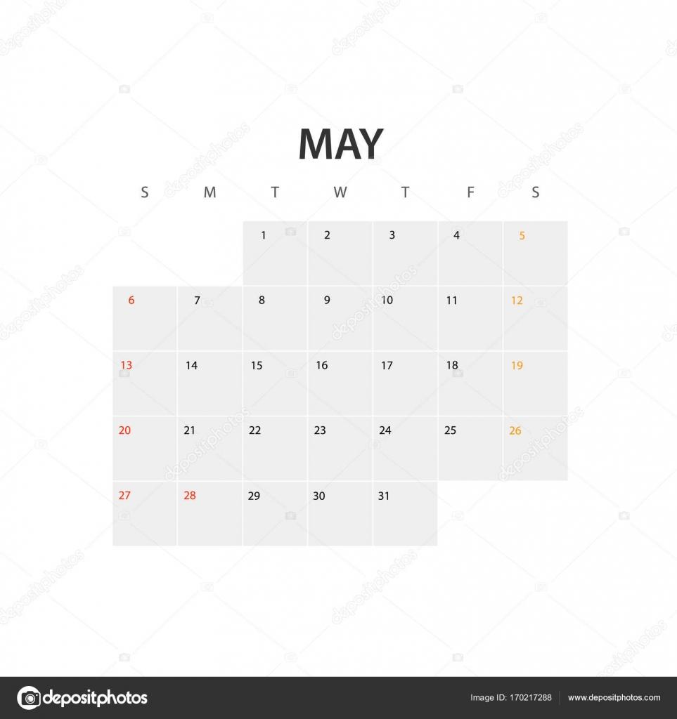 2018 Jahr Kalendervorlage. Mai — Stockvektor © tovovan_ #170217288