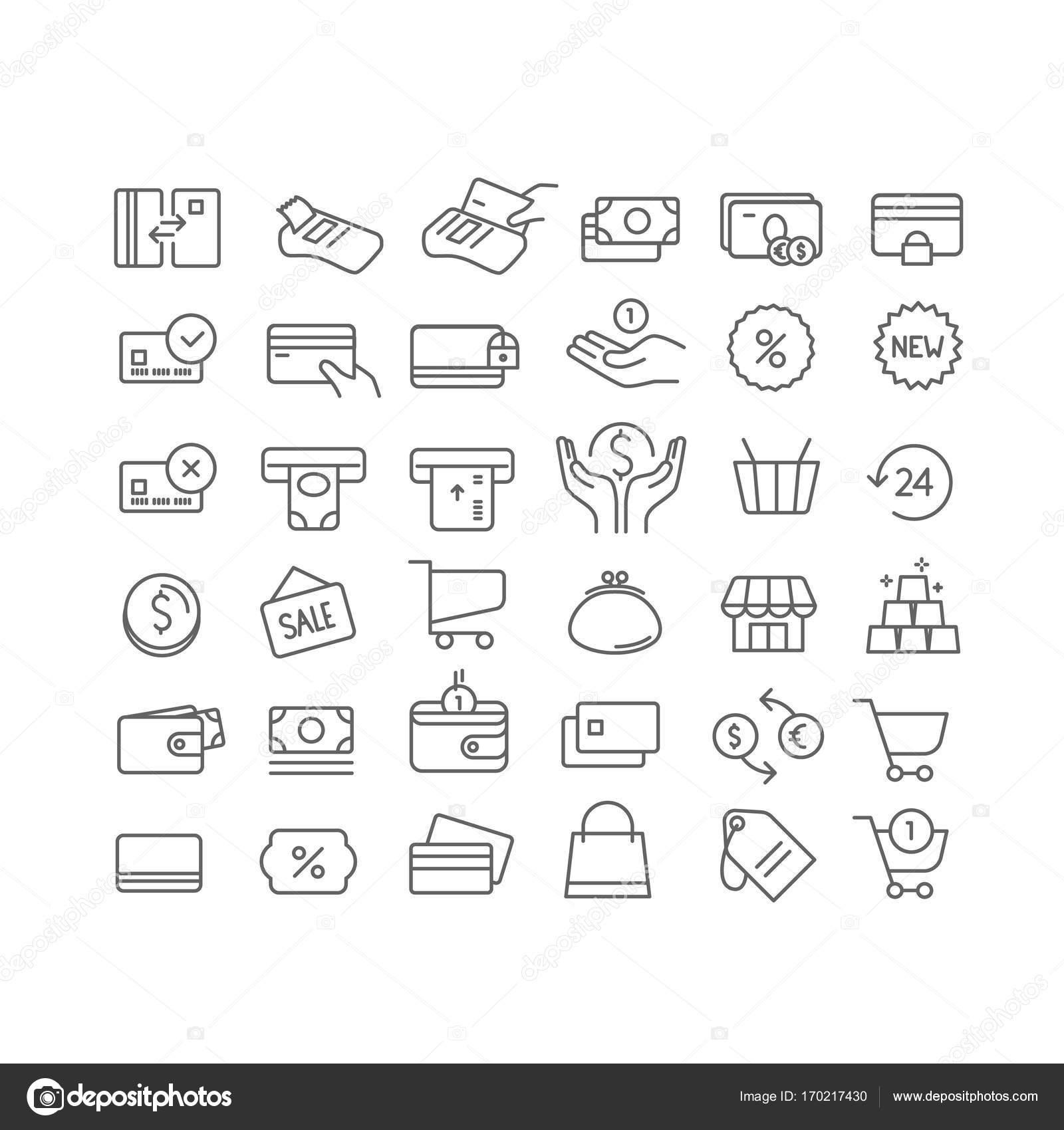 Einfachen Satz von Zeile Symbole. Vektor Symbole Cliparts isoliert ...