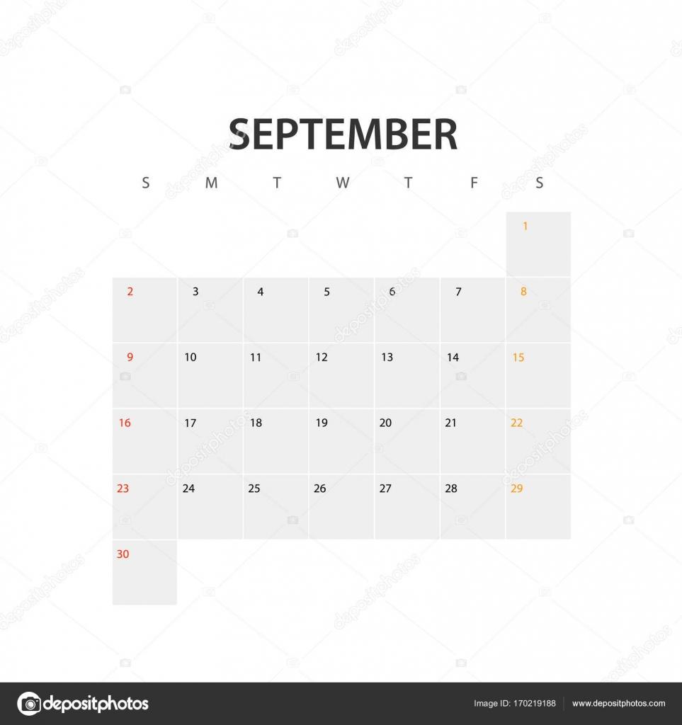 2018 Jahr Kalendervorlage. September — Stockvektor © tovovan_ #170219188