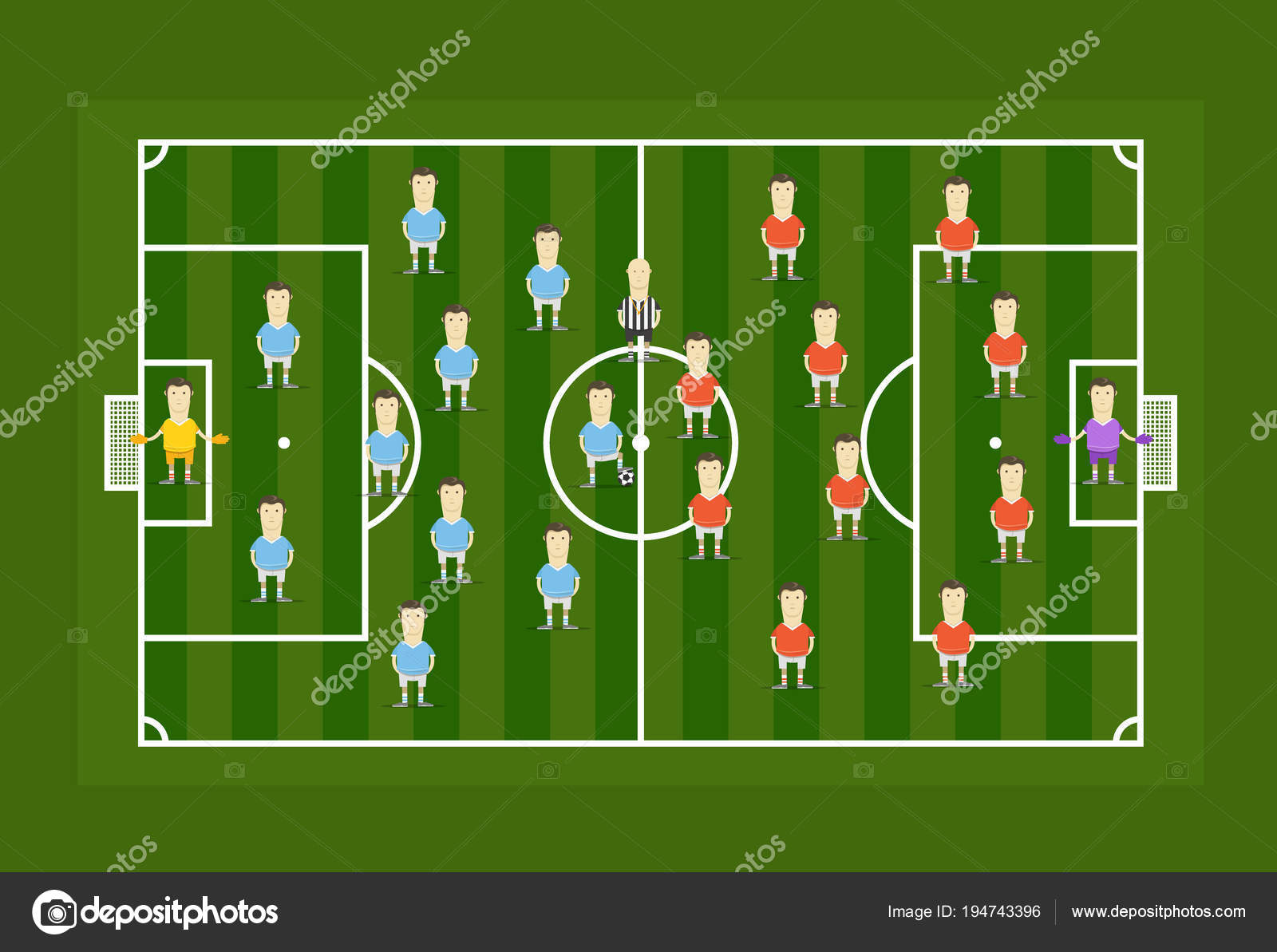 Green Football Field With Football Players Infographic Template