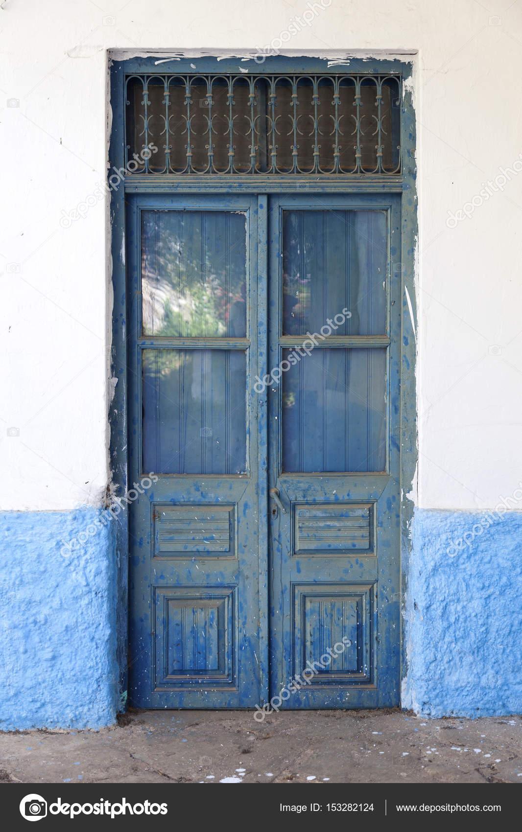 Puertas De Madera Antiguas Pintadas Antigua Puerta Madera Azul