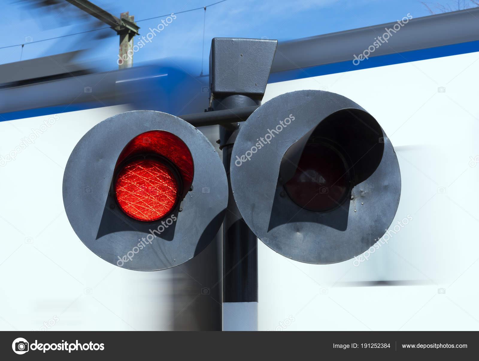 Flashing Red Lights While Train Passes Railway Crossing U2014 Stock Photo