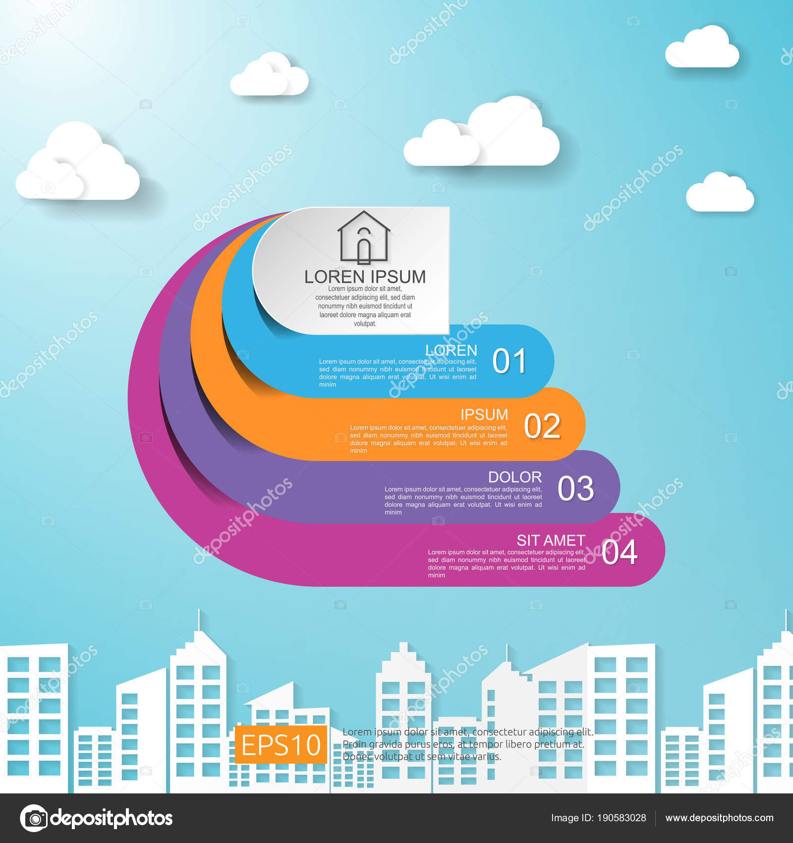 abstract half circle for business concept infographic with cloud and