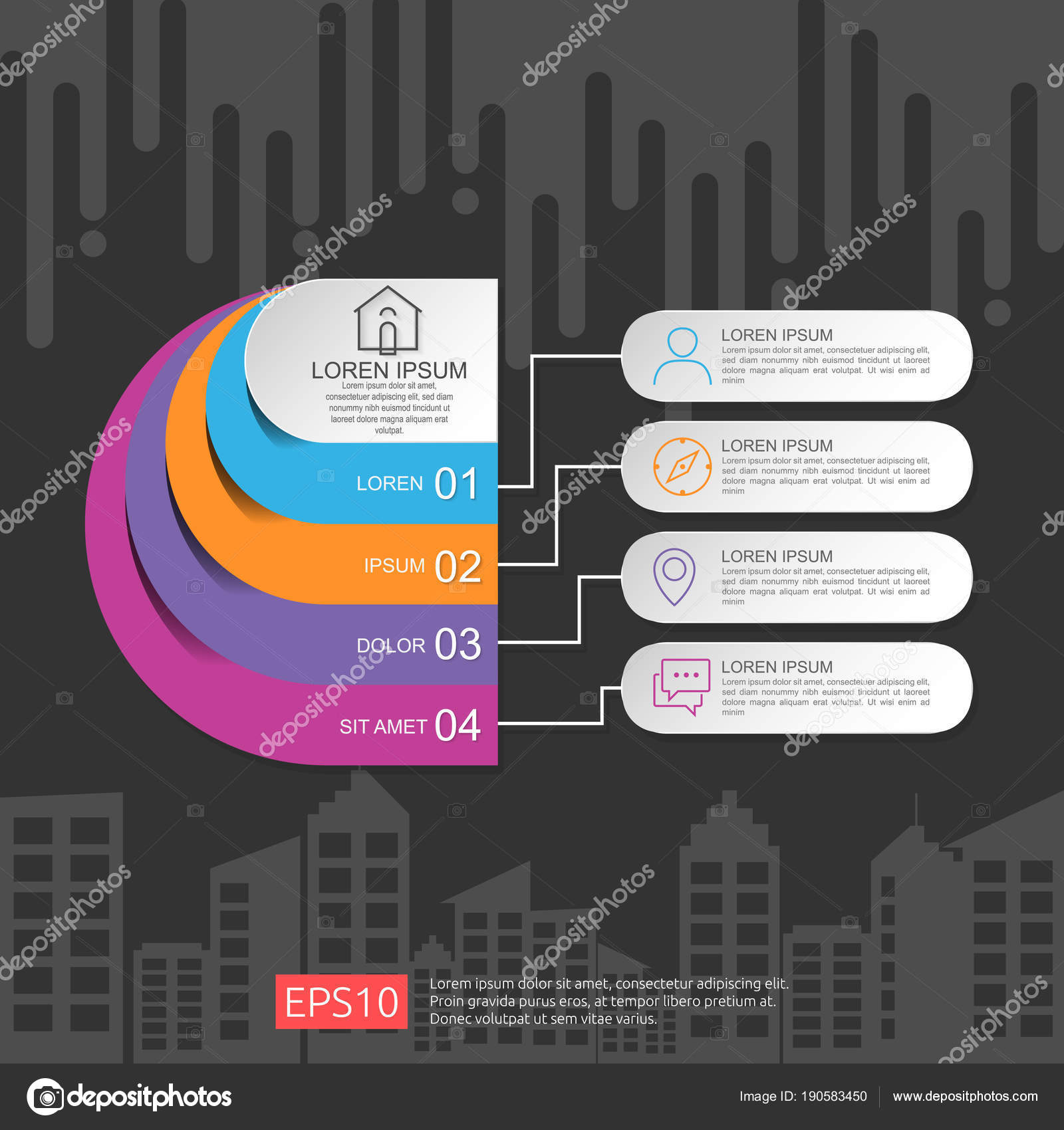 half circle for business concept infographic with abstract cloud and