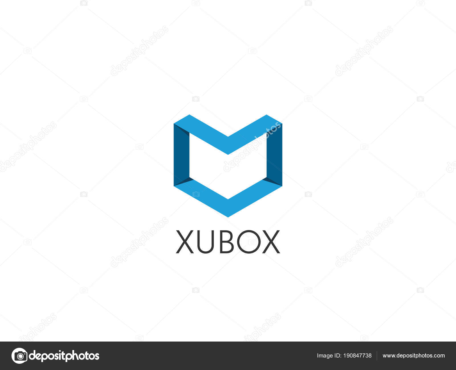 abstract geometric letter m logo template with hexagonal element object cube box shape icon symbol