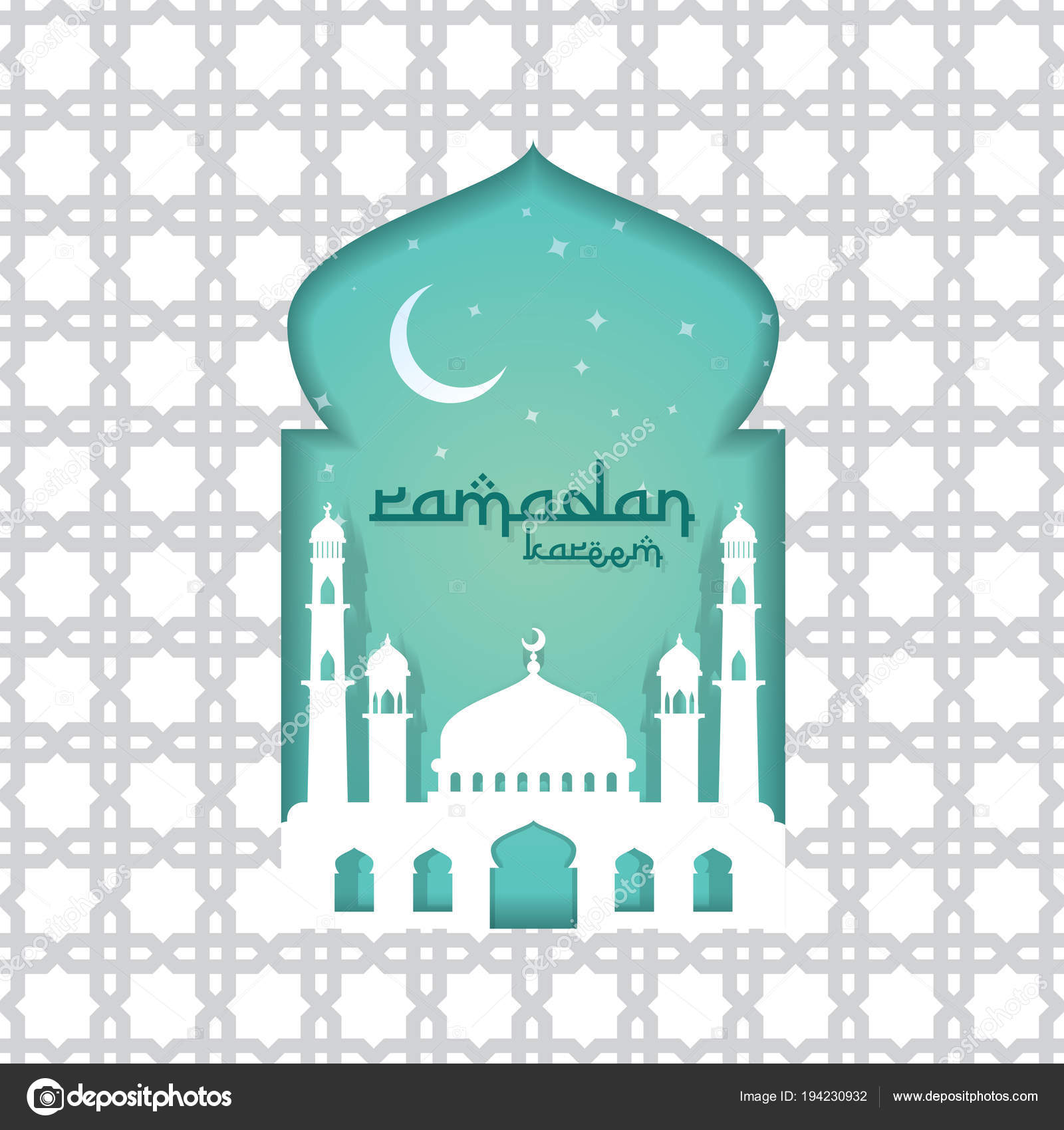 Ramadan Kareem islamic greeting card design with 3D dome mosque door or window and pattern element. paper cut background style. Vector illustration ...  sc 1 st  Depositphotos & Ramadan Kareem islamic greeting card design with 3D dome mosque ...
