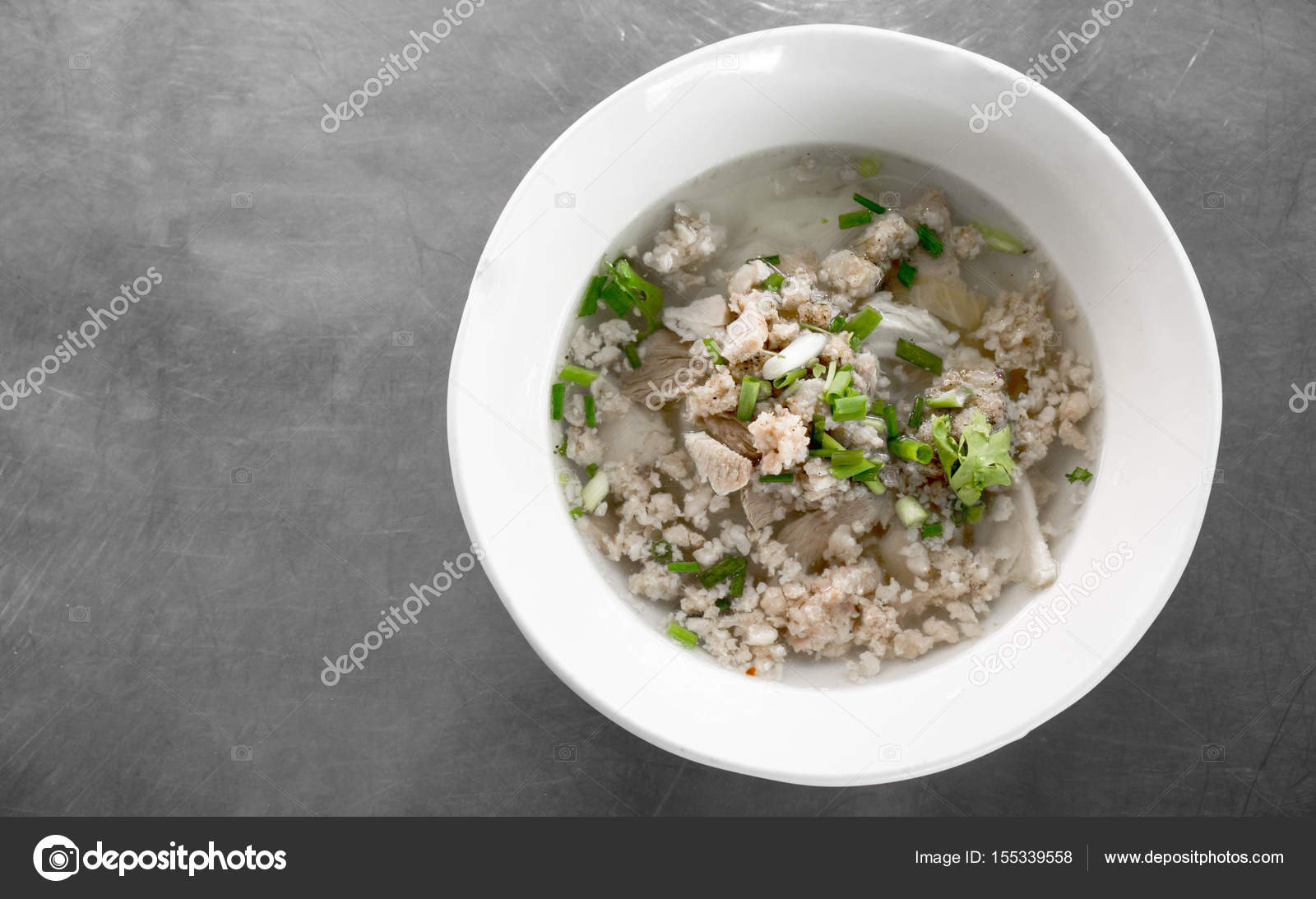 Thai noodle soup with ground pork — Stock Photo © v74 #155339558