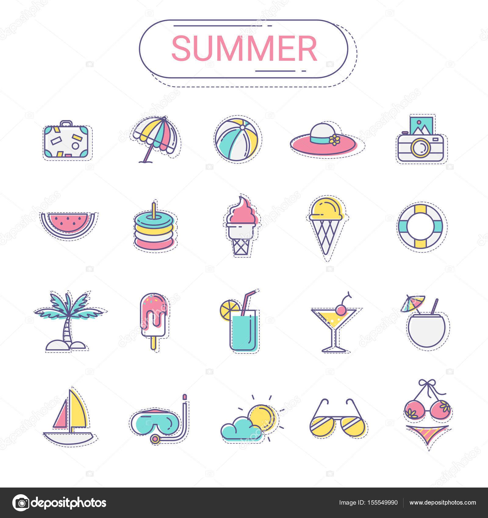 38bc3b6ec Set de iconos de verano. Plano línea icono de estilo colorido y ...
