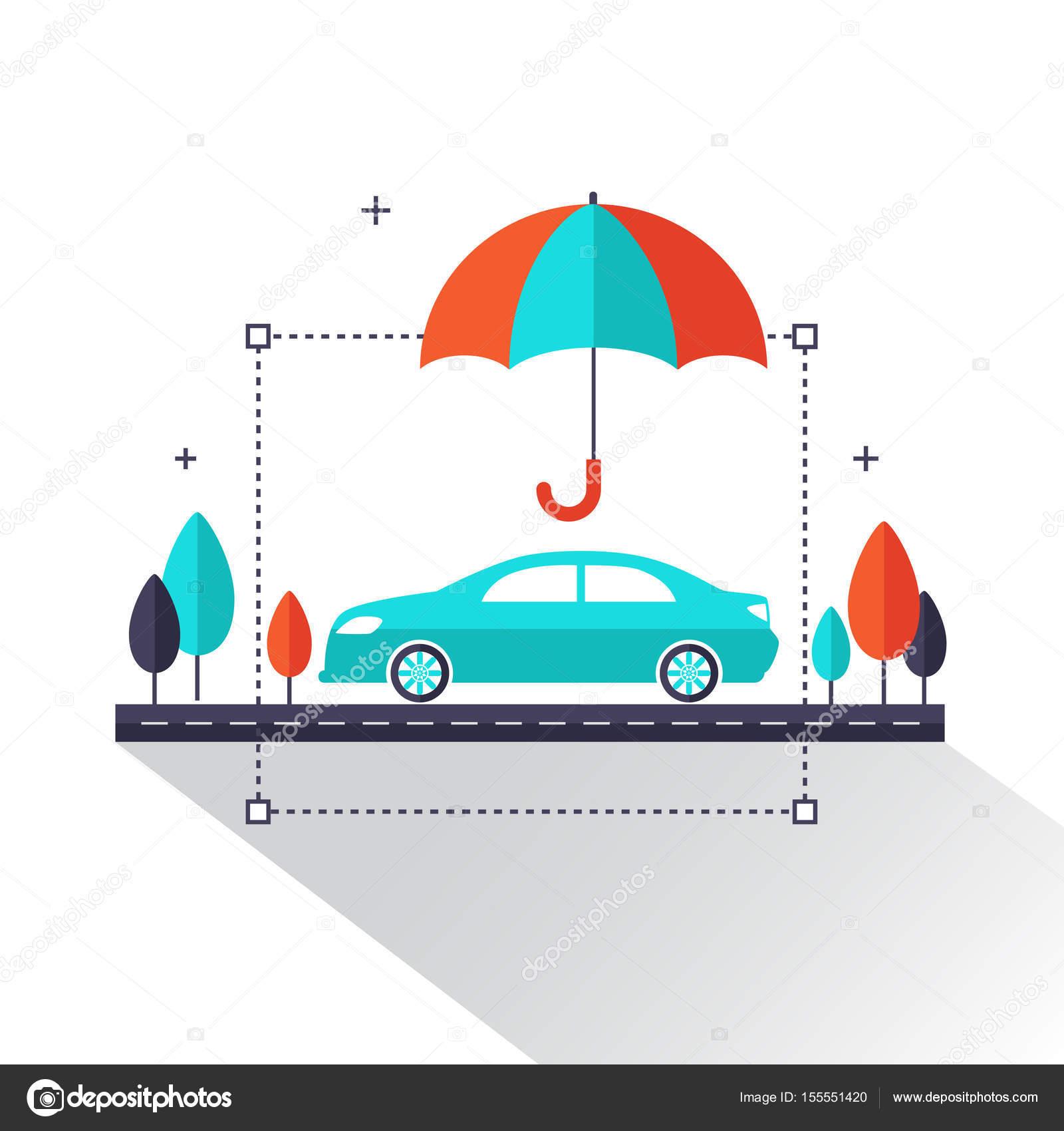 Auto insurance info graphic. Car protected under umbrella flat ...