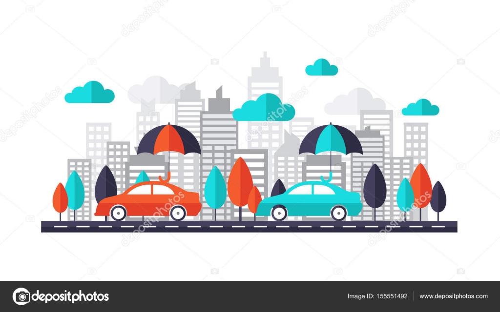 Concepto seguro de auto - coche protegido bajo corriendo en la ...