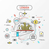 Lender infographics concept. Hand holding a money tray. Loan lending of money from bank, personal loans, credit card, organization or entity. Flat line design create by vector. Can be used for lender banner and advertisement.