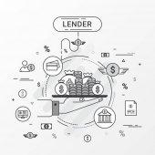 Hitelező infographics koncepció. Kezében egy pénzt tálca. Hitel hitelek pénzt a bank, személyi hitelek, hitelkártya, szervezet vagy személy. Sima vonalas téma vector hozhat létre. A hitelező banner és a reklám is használható