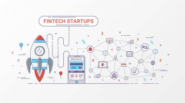 Fintech startup infographic. Financial technology and new business investment with blockchain technology and bitcoin contain Rocket, Digital mobile wallet and Mobile payment, Online shopping icons and e-commerce. Vector illustration.