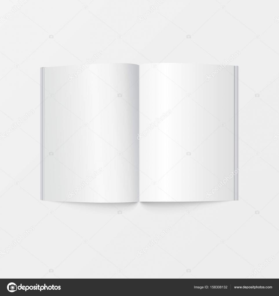 3D Modell offenes Buch Vorlage Draufsicht. Broschüre leere weiße ...