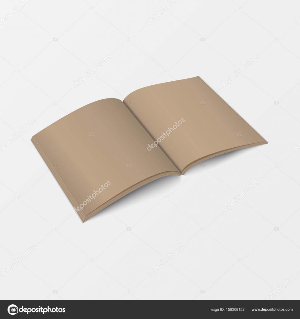 3D Modell öffnen Buch Vorlage Perspektivansicht. Broschüre leer ...