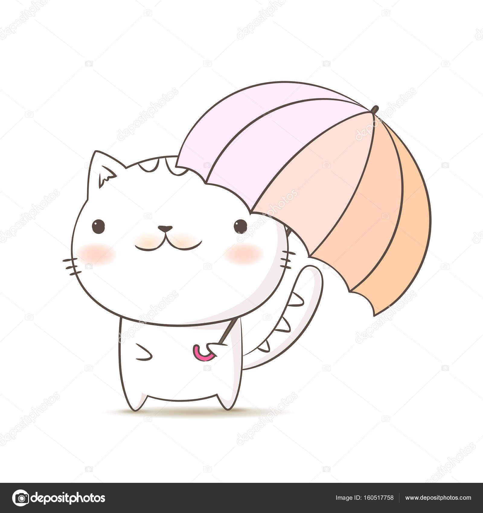 cat holding umbrella cute kitten cartoon hand draw doodle style