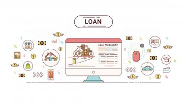 Loan Infographics. Loan agreement between the lender and the borrower. Flat line icons design contains loan offer, finance, money, bank, creditor, and debtor. Vector illustration.