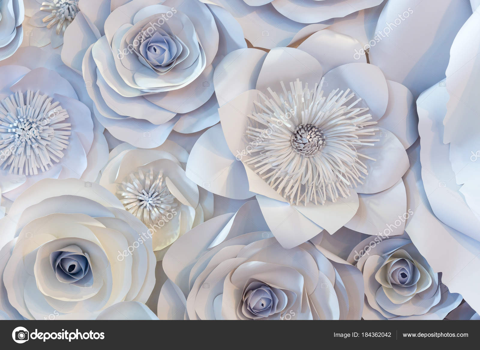 Wall With A Background Of Paper Flowers Handmade Stock Photo