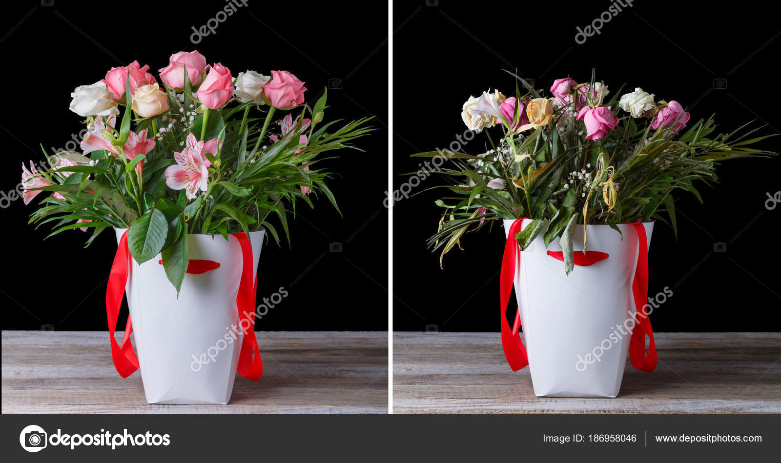 Wilted and fresh flower bouquet in the white boxes with red ribbons wilted and fresh flower bouquet in the white boxes with red ribbons on a wooden table izmirmasajfo