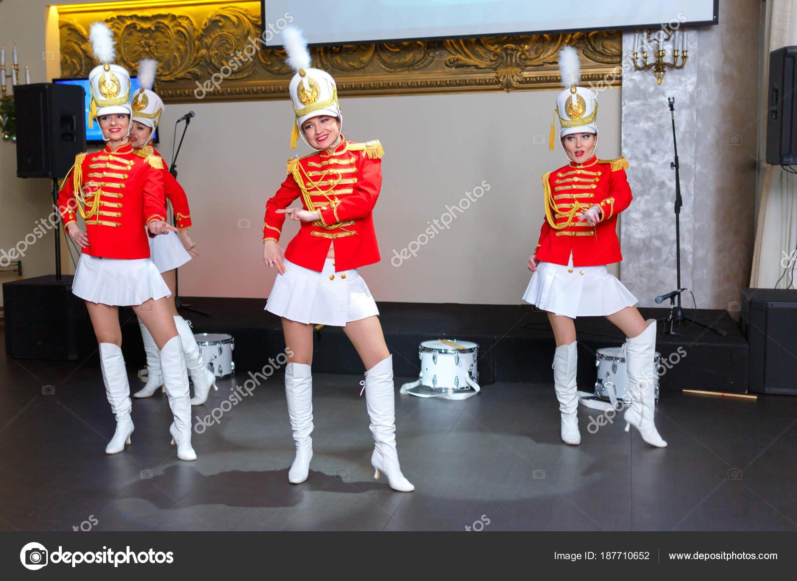 Saint Petersburg, Russia - December 15, 2017: Girls in red