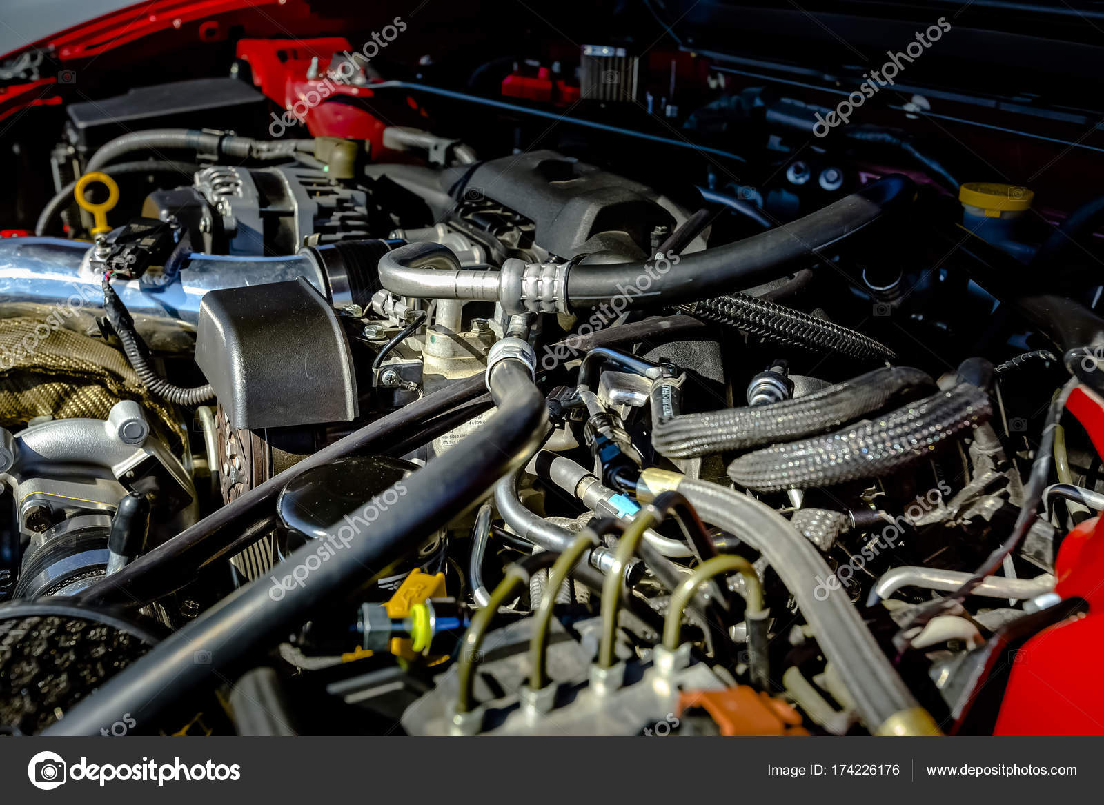 Powerful engine under the hood of a modern car — Stock Photo ...