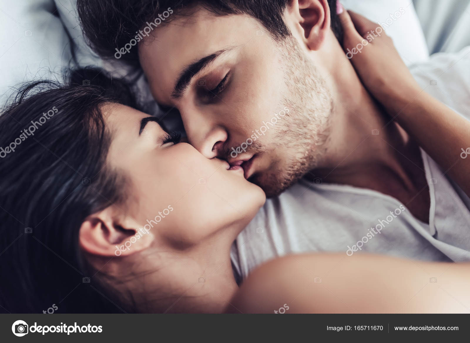 Close Up Of Happy Couple Is Lying In Bed Together Kissing And Enjoying The Company Each Other Photo By 4pmphotogmail
