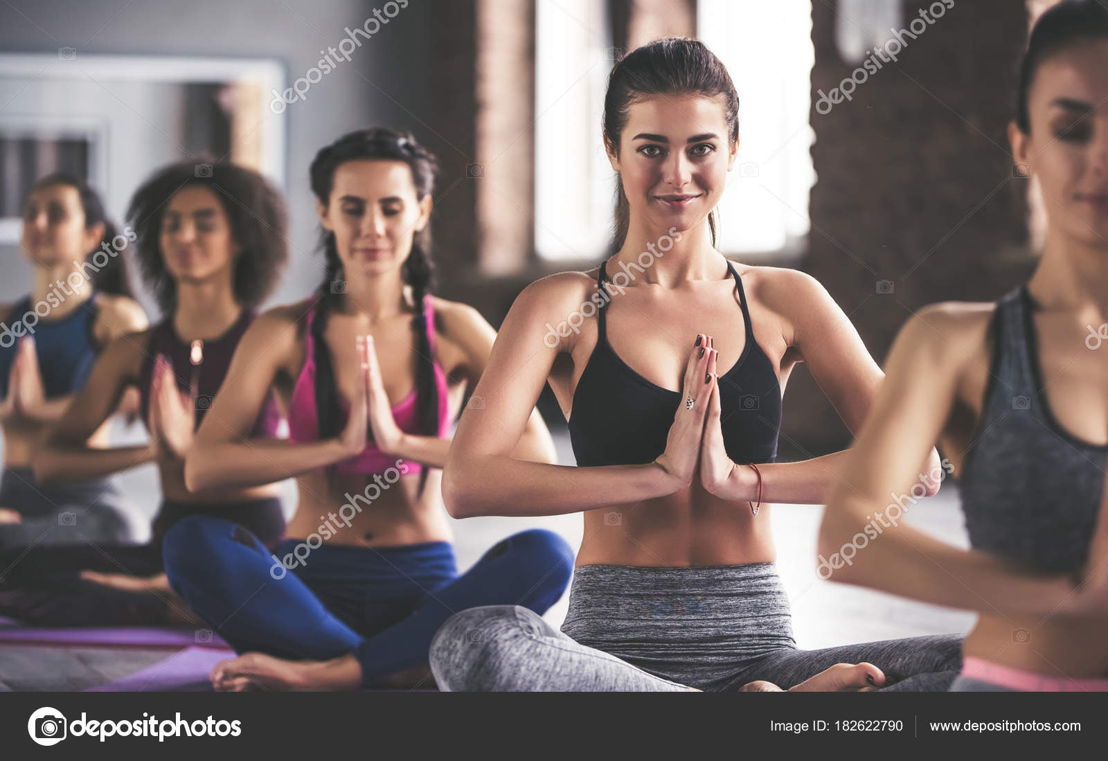 Attractive Young Sport Girls Are Doing Yoga Together Group Training Healthy Lifestyle Concept Photo By 4pmphotogmail