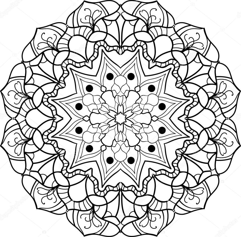 zwart wit mandala kleurplaat stockvector 169 sagmariya