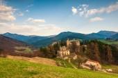 Landscape around ruins of Sklabina castle, Slovakia.