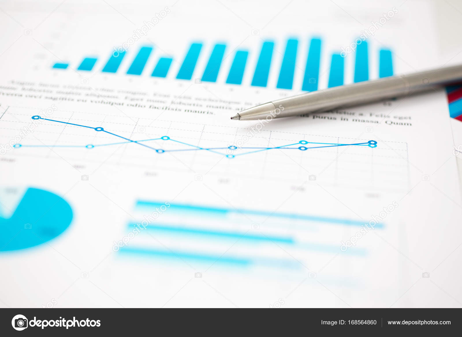 Financial Statistics Documents Ball Pen Infographics At Office Table Ballpoint Diagram And Notepad Royalty Free Stock Photos Photo