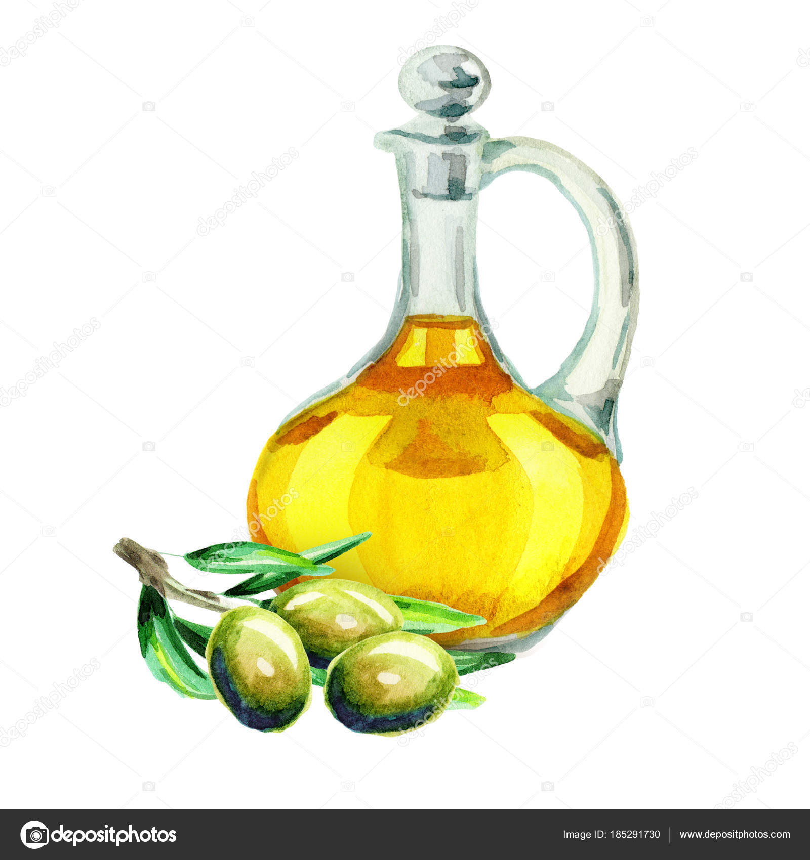 Jar Olive Oil Watercolor Hand Drawn Illustration Isolated