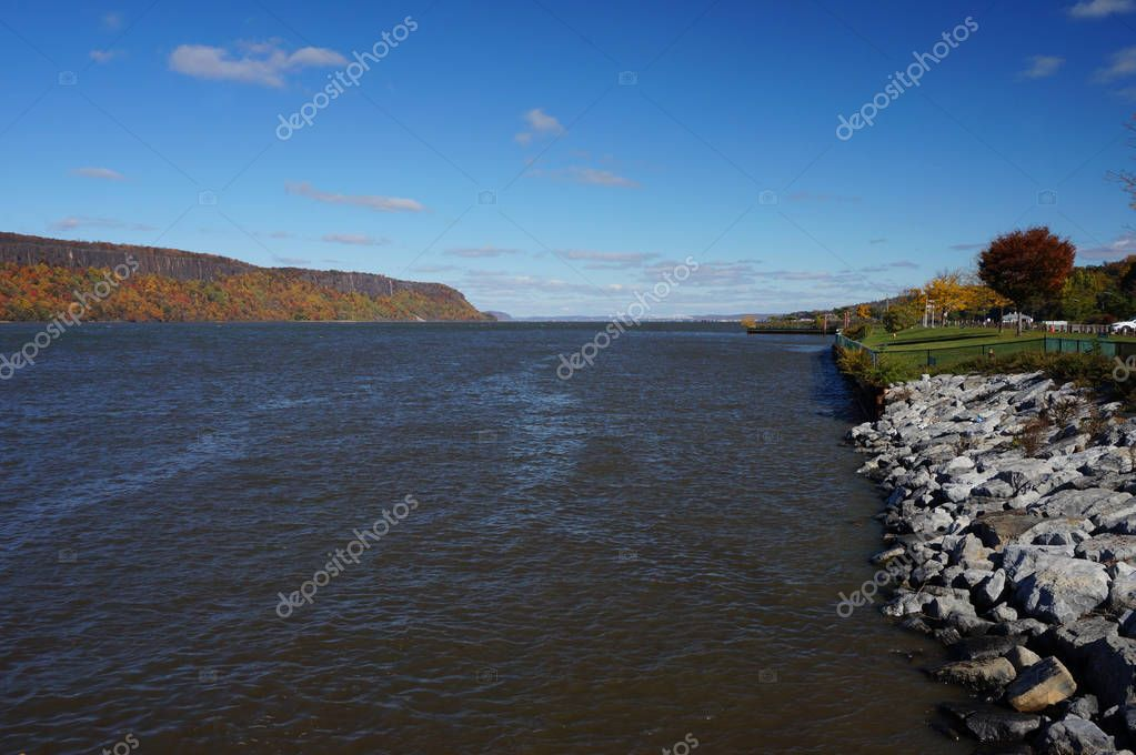Looking down the Hudson River from Yonker New York with the New Jersey Palisades on the opposite shore.