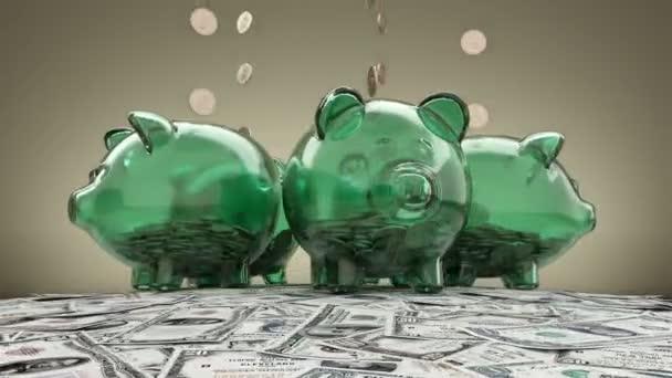 Prasátko a klesající dolarů smyčky animace